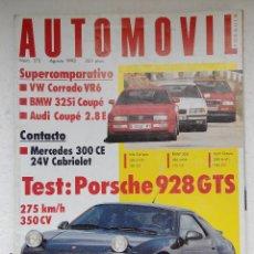 Coches: REVISTA AUTOMOVIL Nº 175 AGOSTO 1992 - CORRADO VR6 - BMW 325I - AUDI COUPE 2.8 E - PORSCHE 928 GTS. Lote 244704150