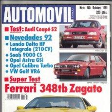 Coches: REVISTA AUTOMOVIL Nº 165 AÑO 1991. PRU: FERRARI 348TB ZAGATO. AUDI COUPE S2. COMP: PEUGEOT 205 GTI. Lote 244722390