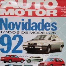 Coches: 1992 REVISTA AUTO MOTOR - ALFA ROMEO 155 - VOLVO 850 - FIAT 500 - GP MACAU. Lote 244904575