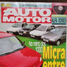 Coches: 1992 REVISTA AUTO MOTOR - FORD ESCORT COSWORTH - OMEGA EVOLUTION 500. Lote 244908990