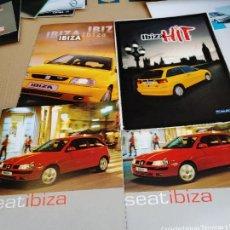 Coches: LOTE 4 CATALOGOS PUBLICIDAD ORIGINAL SEAT IBIZA HIT CARACTERISTICAS TECNICAS AÑO 2000. Lote 253365145