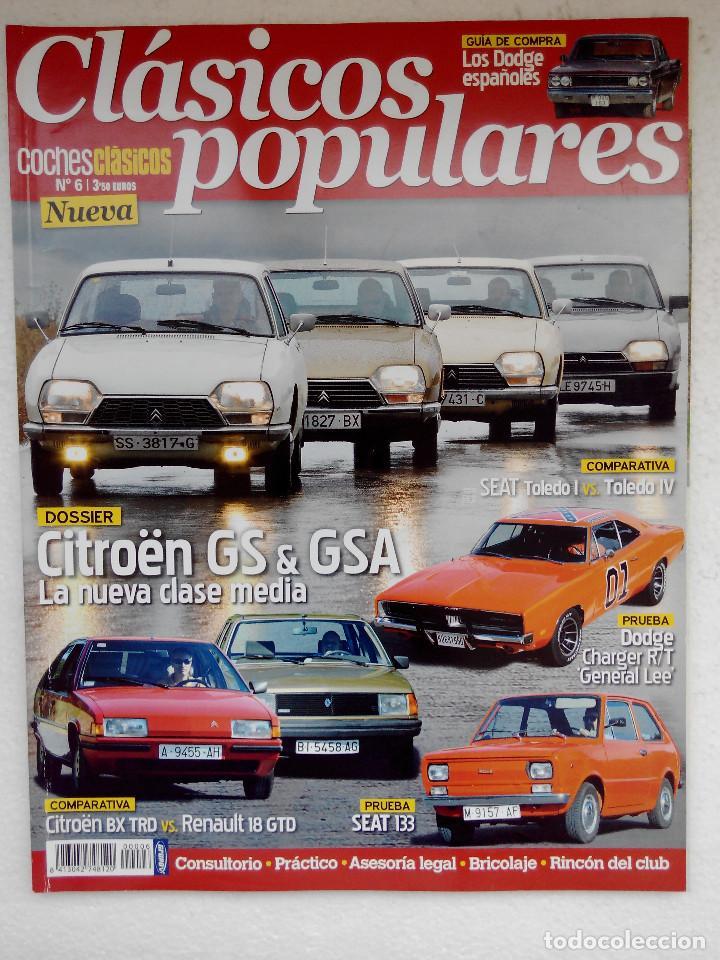 CLASICOS POPULARES Nº 6 -FOTO SUMARIO- SEAT 133 - DODGE CHARGER GENERAL LEE - CITROEN GS Y GSA (Coches y Motocicletas Antiguas y Clásicas - Revistas de Coches)
