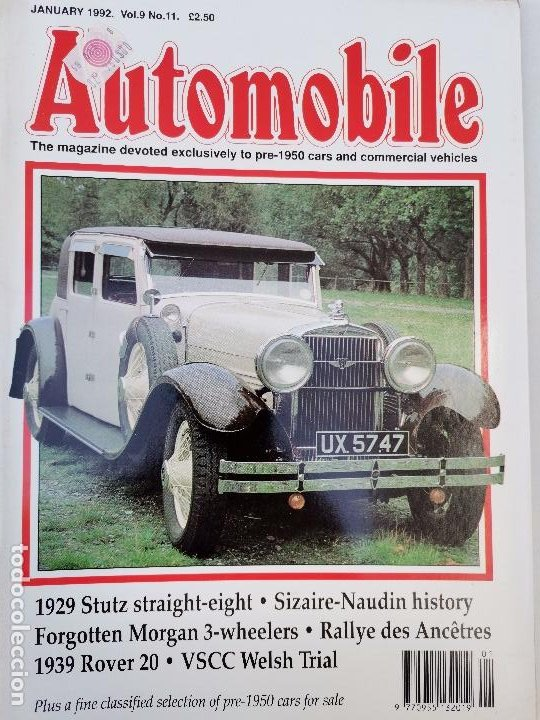 Coches: 1992 REVISTA THE AUTOMOBILE - 1929 STUTZ STRAIGHT - SIZAIRE - NAUDIN HISTORY - 1939 ROVER 20 - Foto 1 - 253552795