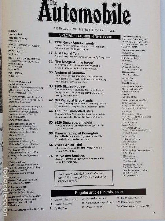 Coches: 1992 REVISTA THE AUTOMOBILE - 1929 STUZ STRAIGHT EIGHT - 1939 ROVER 20 - MORGAN - Foto 2 - 253554085