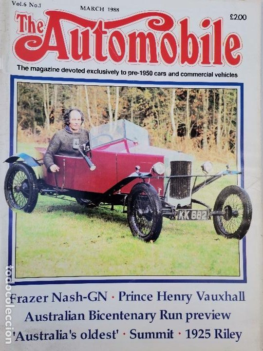 1988 REVISTA THE AUTOMOBILE - FRAZER NASH-GN - PRINCE HENRY VAUXHALL - 1925 RILEY (Coches y Motocicletas Antiguas y Clásicas - Revistas de Coches)
