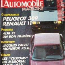 Coches: 1985 REVISTA L`AUTOMOBILE - PEUGEOT 309 - LANCIA DELTA S4 - LANCIA THEMA - SEAT MALAGA 1500 GLX. Lote 257850185