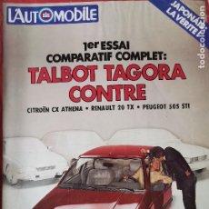 Coches: 1981 REVISTA L`AUTOMOBILE - TALBOT TAGORA - CITROEN CX ATHENA - RENAULT 20 TX - PEUGEOT 505 STI. Lote 257850895