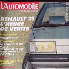 Coches: 1986 REVISTA L`AUTOMOBILE - RENAULT 21 - JAGUAR XJSC V12 CABRIOLET - LANCIA DELTA S4 - JEEP WILLYS. Lote 257851255