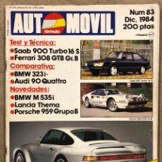 Coches: AUTOMOVIL Nº 83 (1984). SAAB 900 TURBO 16 S, FERRARI 308 GTB GR.B, BMW 323 I-, AUDI 90 QUATTRO, BMW. Lote 260723310