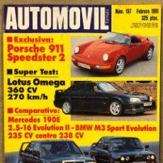 Carros: AUTOMÓVIL N° 157 (1991). PORSCHE 911 SPEEDSTER 2, LOTUS OMEGA, MERCEDES 190 E 2.5-16 EVOLUTION. Lote 261034585