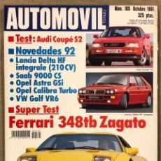 Coches: AUTOMÓVIL N° 165 (1991). AUDI COUPÉ S2, LANCIA DELTA HF INTEGRALE, FERRARI 348TB ZAGATO,.... Lote 261105460