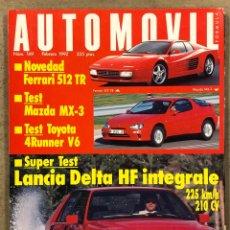 Coches: AUTOMÓVIL N° 169 (1992). LANCIA DELTA HF INTEGRALE, MAZDA MX-3, TOYOTA 4RUNNER V6, FERRARI 512. Lote 261107915