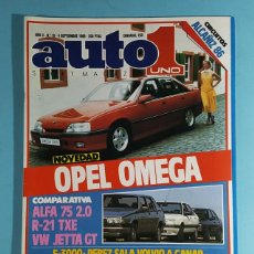 Carros: REVISTA AUTO UNO 1 SPORT MAGAZINE Nº 19 SEPTIEMBRE 1986: OPEL OMEGA, ALFA 75, R-21, VW JETTA.... Lote 263008730