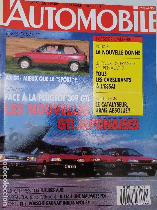 1987 REVISTA L`AUTOMOBILE - LOS GTI JAPONESES CITROEN AX GT (Coches y Motocicletas Antiguas y Clásicas - Revistas de Coches)