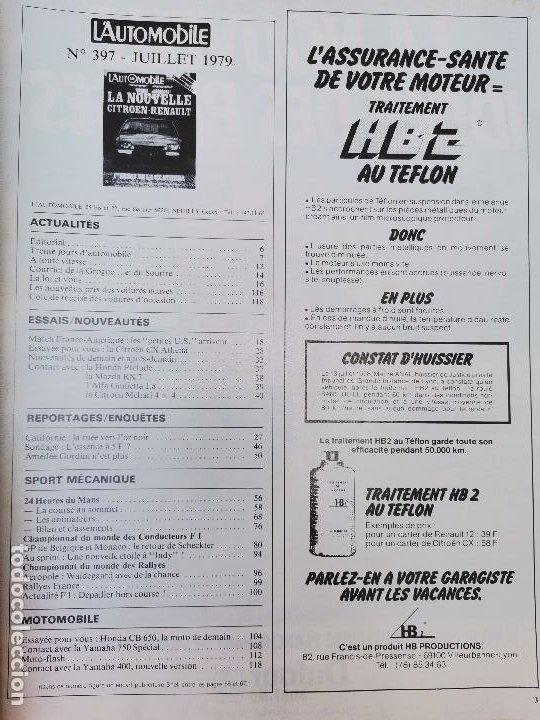 Coches: 1979 REVISTA L`AUTOMOBILE - CITROEN CX ATHENA -MAZDA RX7 - ALFA ROMEO GIULIETTA 1.8 - CITROEN MEHARI - Foto 2 - 268717619