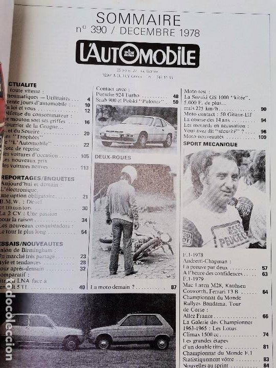 Coches: 1978 REVISTA L`AUTOMOBILE - CITROEN LNA - RENAULT 5 TL - RALLY TOUR DE CORSE - Foto 2 - 268717914