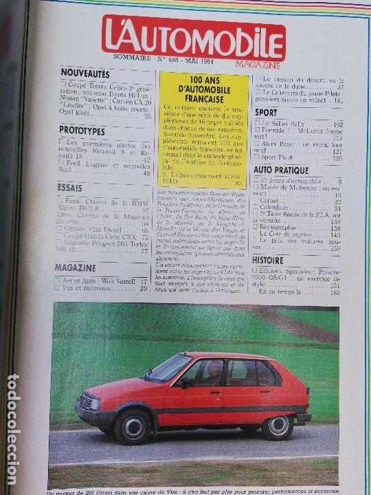 Coches: 1984 REVISTA L`AUTOMOBILE - CITROEN LNA - RENAULT 5 Y 18 -BMW ALPINA V6 - MASERATI BITURBO - Foto 2 - 268718044