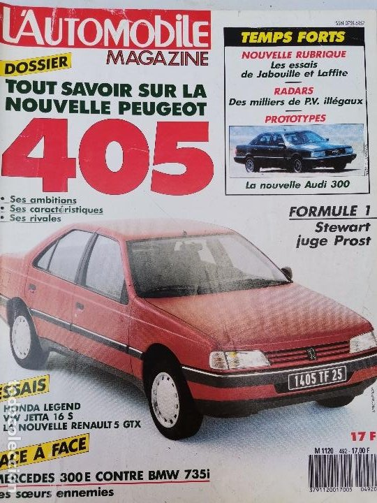 1987 REVISTA L`AUTOMOBILE - HONDA LEGEND - MERCEDES 300 E VS BMW 735 - AUDI 300 - PEUGEOT 405 (Coches y Motocicletas Antiguas y Clásicas - Revistas de Coches)