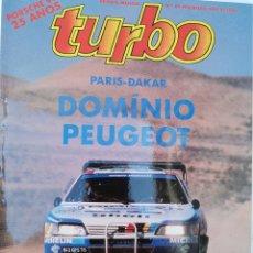 Carros: 1989 REVISTA TURBO - PARIS DAKAR - RALLY DA SUÉCIA - NISSAN BLUEBIRD 18 T - OPEL VECTRA 4 X 4. Lote 273139148