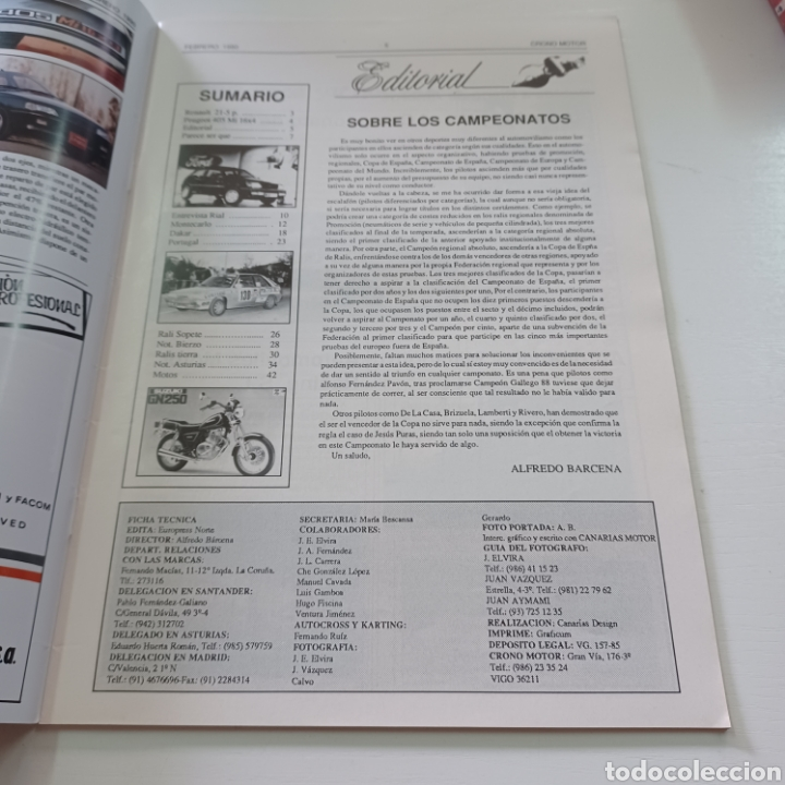 Coches: CRONO MOTOR AÑO 1990 RALLY PORTUGAL - CAMPEONATO ESPAÑA TIERRA ... - Foto 2 - 277038023