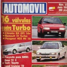 Coches: 1988 REVISTA AUTOMOVIL - CITROEN BX GTI - RENAULT 21 TURBO - PEUGEOT 405 MI 16B- LAND CRUISER. Lote 288036943