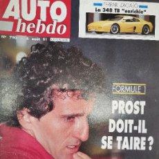 Coches: 1991 REVISTA AUTO HEBDO - FERRARI 348 TB ZAGATO - ALAIN PROST - 24 HEURS DE SPA - PORSCHE 968. Lote 288059778