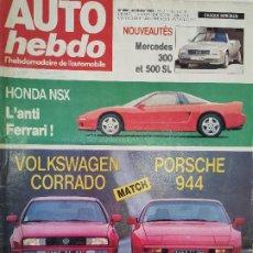 Coches: 1989 REVISTA AUTO HEBDO - HONDA NSX - VW CORRADO VS PORSCHE 944 - MERCEDES 300 Y 500 SL. Lote 288060978