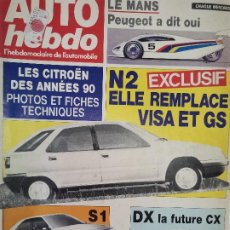 Coches: 1988 REVISTA AUTO HEBDO - LE MANS PEUGEOT - CITROEN BX - ENSAIO LANCOA THEMA IE 16V Y MARTINI BMW F2. Lote 288061503