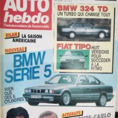 Coches: 1988 REVISTA AUTO HEBDO - BMW 324 TD - FIAT TIPO - BMW SERIE 5 - RALLYE MONTE CARLO - PARIS DAKAR. Lote 288062188