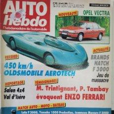 Coches: 1988 REVISTA AUTO HEBDO - OPEL VECTRA - OLDSMOBILE AEROTECH 450 KM/H - SALON 4 X 4. Lote 288062613