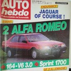 Coches: 1988 REVISTA AUTO HEBDO - ALFA ROMEO 164 V6 3.0 - ALFA SPRINT 1700 ENSAIOS. Lote 288062868