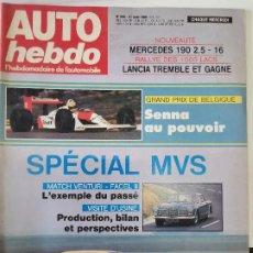 Coches: 1988 REVISTA AUTO HEBDO - GP BELGICA SENNA - VENTURY VS FACELL II - MERCEDED 190 2.5 - 16. Lote 288064663