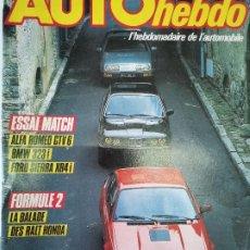Coches: 1984 REVISTA AUTO HEBDO - ENSAIO ALFA ROMEO GTV 6 - BMW 323.I - FORD SIERRA XR4 I. Lote 288066948