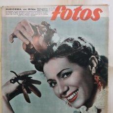 Coches: REVISTA FOTOS. AÑO 1953. BAILARINA MARIEMMA, ESPECIAL REPORTAJE NAVACERRADA NIEVE ESQUÍ, JUAN POSADA. Lote 288704088