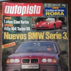 Coches: AUTOPISTA Nº 1647 - FEBRERO 1991 - LOTUS ELAN TURBO / BMW SERIE 3 / ALFA 164 TURBO V6. Lote 294167753
