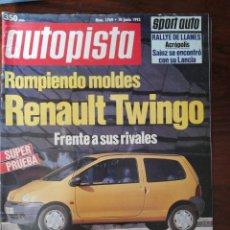 Coches: AUTOPISTA Nº 1769 - JUNIO 1993 - RENAULT TWINGO VS RIVALES. NUEVOS PEUGEOT 306 DIESEL, TD Y AUT.. Lote 294169288