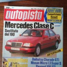 Coches: AUTOPISTA - Nº 1750 - ENERO 1993 - MERCEDES 400 E / TOYOTA SUPRA / PEUGEOT 106 XSI / NISSAN MICRA S. Lote 294169843