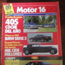 Coches: MOTOR 16 Nº 214 - NOVIEMBRE 1987 - 405 COCHE DEL AÑO, PRUEBA DE GAMA. Lote 294279003