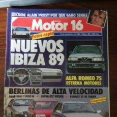 Coches: REVISTA MOTOR 16 Nº 264 - NOV 1988 - PEUGEOT 309 GTI.COMP:RENAULT 25, ROVER VITESSE Y SAAB 9000. Lote 294279423