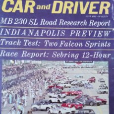 Coches: 1963 REVISTA CAR AND DRIVER - MB 230 SL - INDIANAPOLIS - TRACK TESTS FALCON SPRINTS - SEBRING 12 H. Lote 294867603