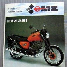 Coches y Motocicletas: MOTOCICLETA MZ ETZ 251 Y ETZ 125 / 150 -- CATALOGO PUBLICIDAD ORIGINAL . Lote 26697255