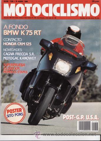 REVISTA MOTOCICLISMO Nº 1156 AÑO 1990. PRUEBAS: BMW K 75 RT, SUPERPRUEBA CAGIVA FRECCIA 25.000, (Coches y Motocicletas - Revistas de Motos y Motocicletas)