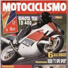 Coches y Motocicletas: REVISTA MOTOCICLISMO Nº 1229 AÑO 1991. PRU: BMW NICO BAKKER KANGARDO. BIMOTA TESI 10. DERBI GPR 75.. Lote 270232898