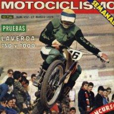 Coches y Motocicletas: MOTOCICLISMO 452 PRUEBAS LAVERDA 750 LAVERDA 1000. Lote 53366638