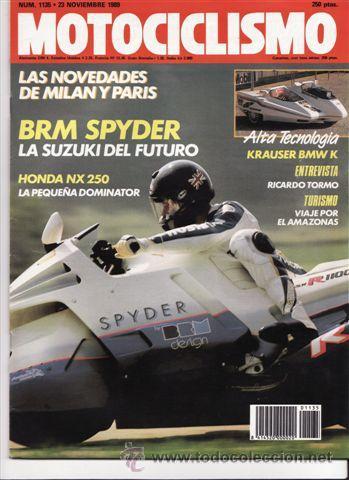 REVISTA MOTOCICLISMO Nº 1135 AÑO 1989. PRUEBA: SUZUKI BRM SPYDER. PRUEBA: HONDA NX 250. REPORTAJES Y (Coches y Motocicletas - Revistas de Motos y Motocicletas)