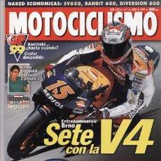 Coches y Motocicletas: REVISTA MOTOCICLISMO AÑO 1632 AÑO 1999 PRU: KAWASAKI DRIFTER 800. YAMAHA YZF R1. COMP: SUZUKI SV 650. Lote 155604880