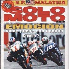 Coches y Motocicletas: REVISTA SOLO MOTO ACTUAL Nº 1088 AÑO 1997. PRUEBA: APRILIA SR 50 STEALTH. DERBI PADDOCK 50.. Lote 22084789