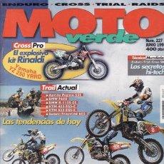 Coches y Motocicletas: REVISTA MOTO VERDE Nº 227 AÑO 1997 .PRUEBA: BMW R 1100 GS. BMW F 650. APRILIA PEGASO 650.. Lote 23159825