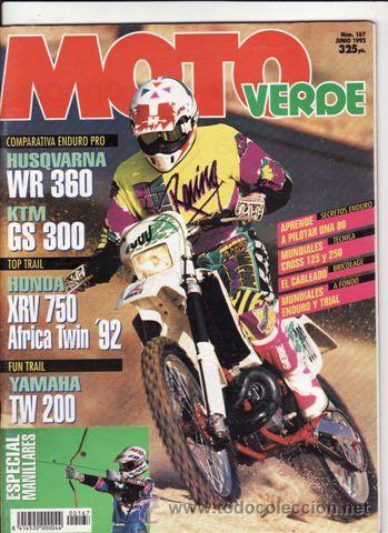 REVISTA MOTO VERDE Nº 167 AÑO 1992. PRU:HONDA XRV 450 AFICA TWIN.COMP:HUSQVARNA WR 360 Y KTM GS 300. (Coches y Motocicletas - Revistas de Motos y Motocicletas)