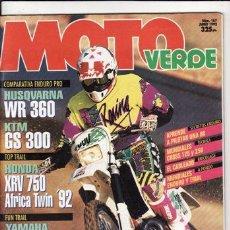Coches y Motocicletas: REVISTA MOTO VERDE Nº 167 AÑO 1992. PRU:HONDA XRV 450 AFICA TWIN.COMP:HUSQVARNA WR 360 Y KTM GS 300.. Lote 194130793